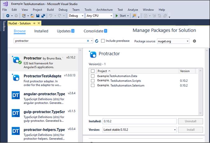Running Protractor tests on Visual Studio